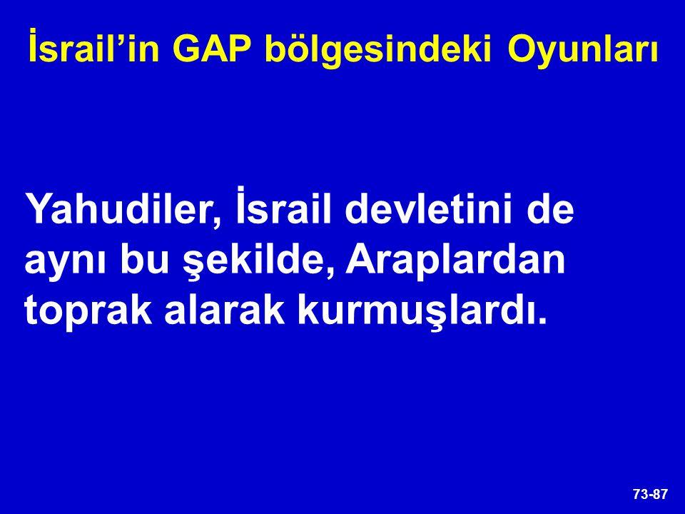 73-87 Yahudiler, İsrail devletini de aynı bu şekilde, Araplardan toprak alarak kurmuşlardı. İsrail'in GAP bölgesindeki Oyunları