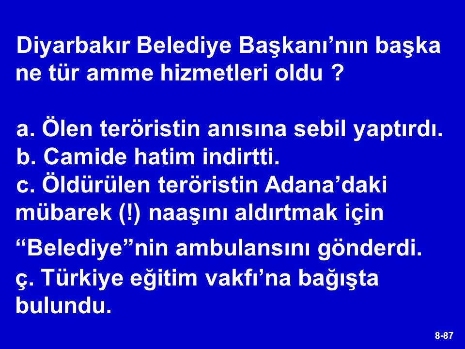 8-87 Diyarbakır Belediye Başkanı'nın başka ne tür amme hizmetleri oldu ? a. Ölen teröristin anısına sebil yaptırdı. b. Camide hatim indirtti. c. Öldür
