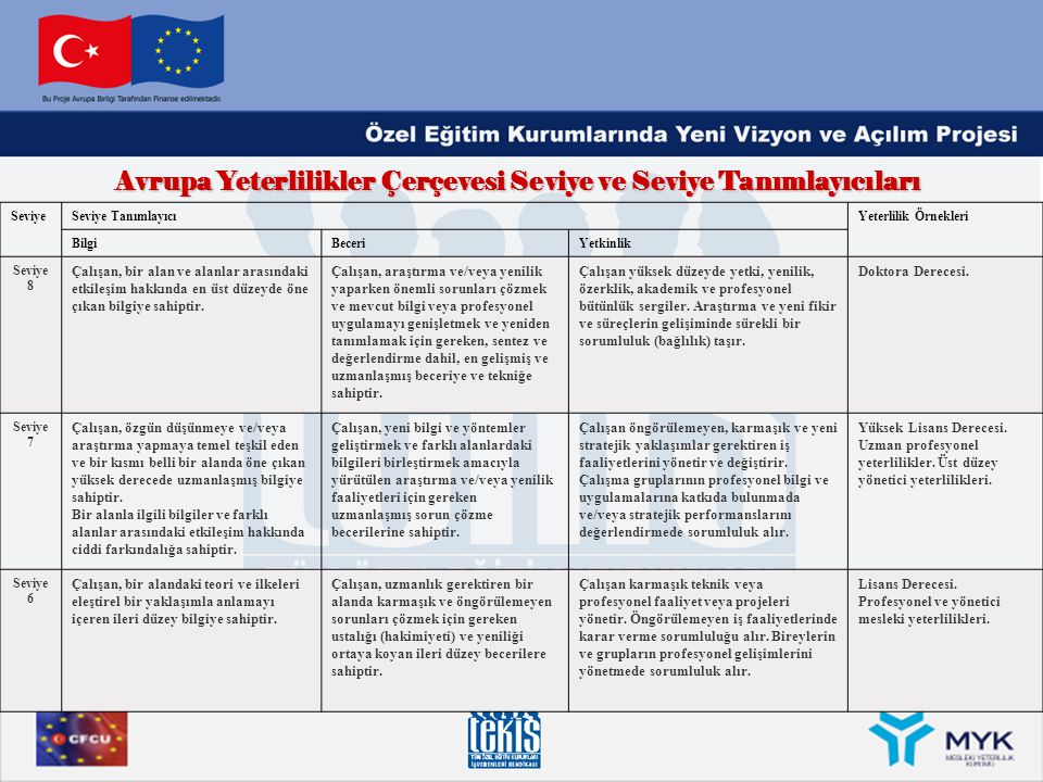 Avrupa Yeterlilikler Çerçevesi Seviye ve Seviye Tanımlayıcıları SeviyeSeviye TanımlayıcıYeterlilik Örnekleri BilgiBeceriYetkinlik Seviye 8 Çalışan, bi