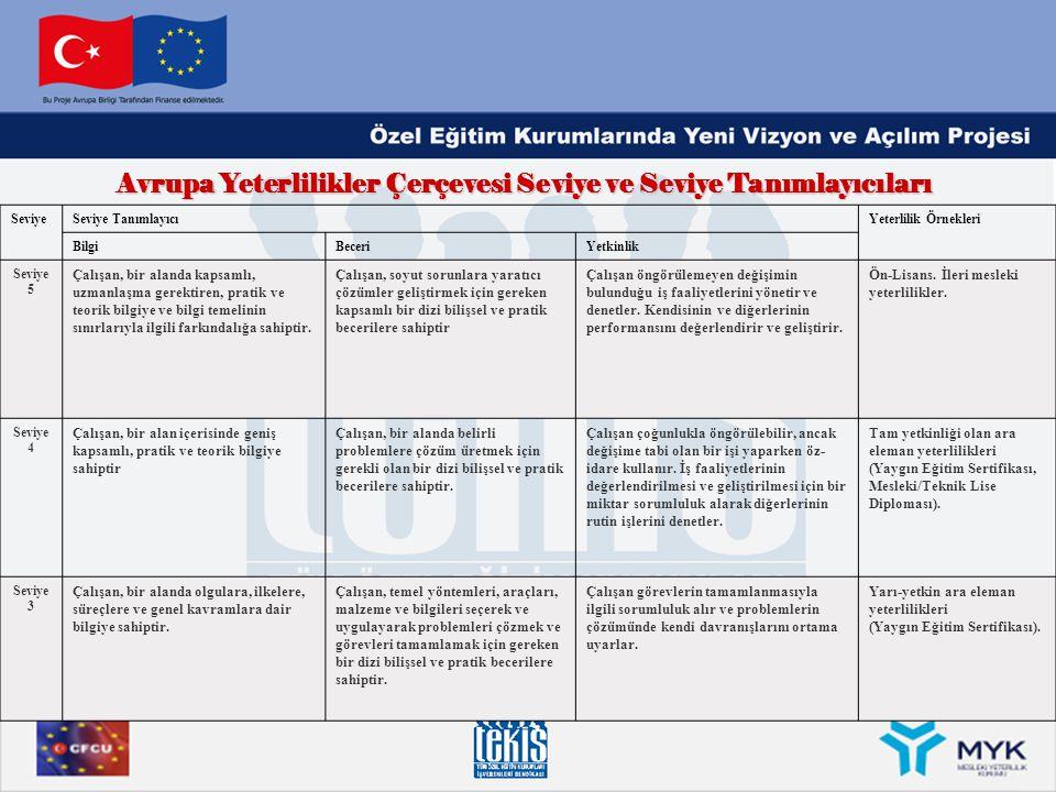 Avrupa Yeterlilikler Çerçevesi Seviye ve Seviye Tanımlayıcıları SeviyeSeviye TanımlayıcıYeterlilik Örnekleri BilgiBeceriYetkinlik Seviye 5 Çalışan, bi