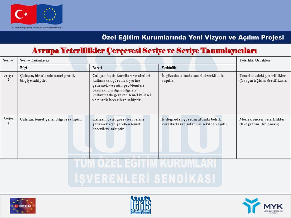 Avrupa Yeterlilikler Çerçevesi Seviye ve Seviye Tanımlayıcıları SeviyeSeviye TanımlayıcıYeterlilik Örnekleri BilgiBeceriYetkinlik Seviye 2 Çalışan, bi