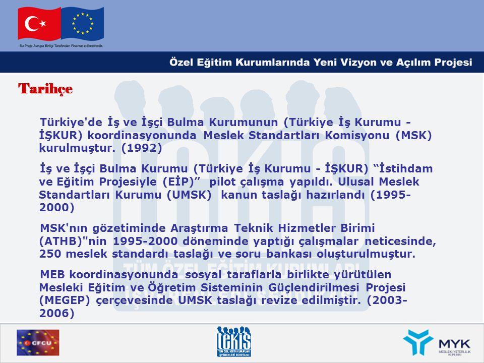 Tarihçe Türkiye'de İş ve İşçi Bulma Kurumunun (Türkiye İş Kurumu - İŞKUR) koordinasyonunda Meslek Standartları Komisyonu (MSK) kurulmuştur. (1992) İş