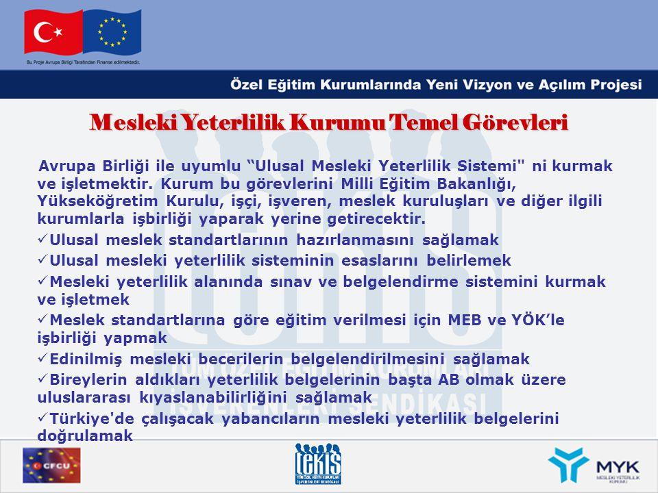 """Mesleki Yeterlilik Kurumu Temel Görevleri Avrupa Birliği ile uyumlu """"Ulusal Mesleki Yeterlilik Sistemi"""