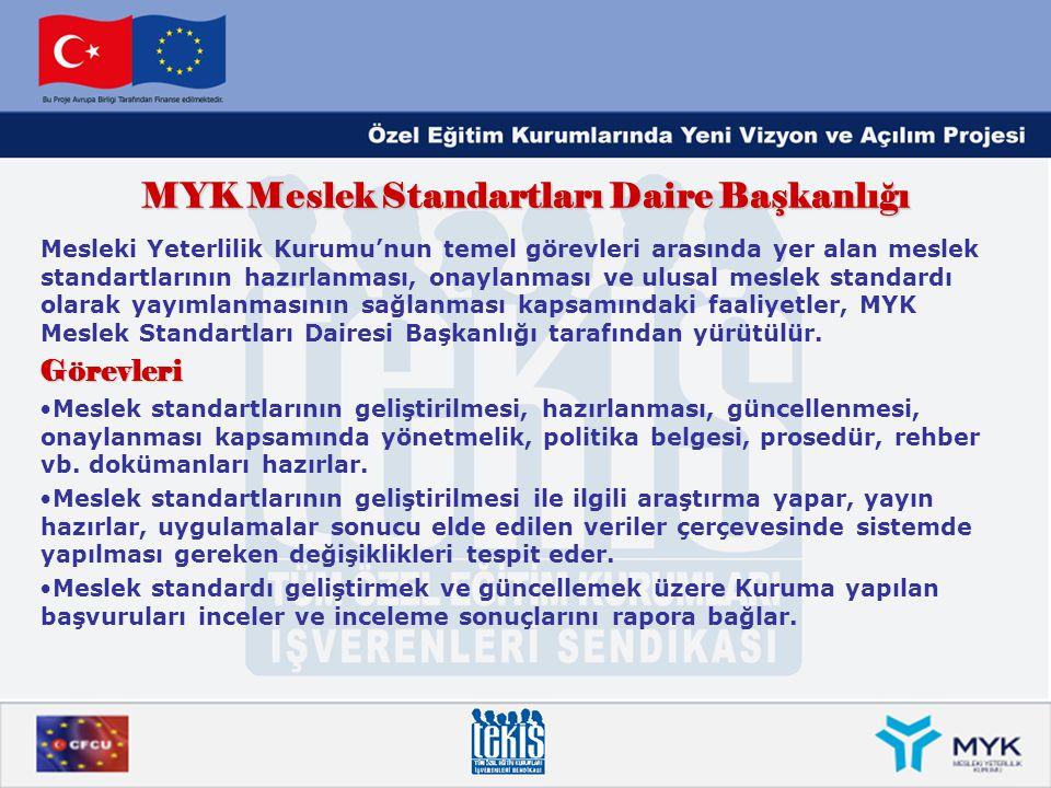 MYK Meslek Standartları Daire Başkanlığı Mesleki Yeterlilik Kurumu'nun temel görevleri arasında yer alan meslek standartlarının hazırlanması, onaylanm