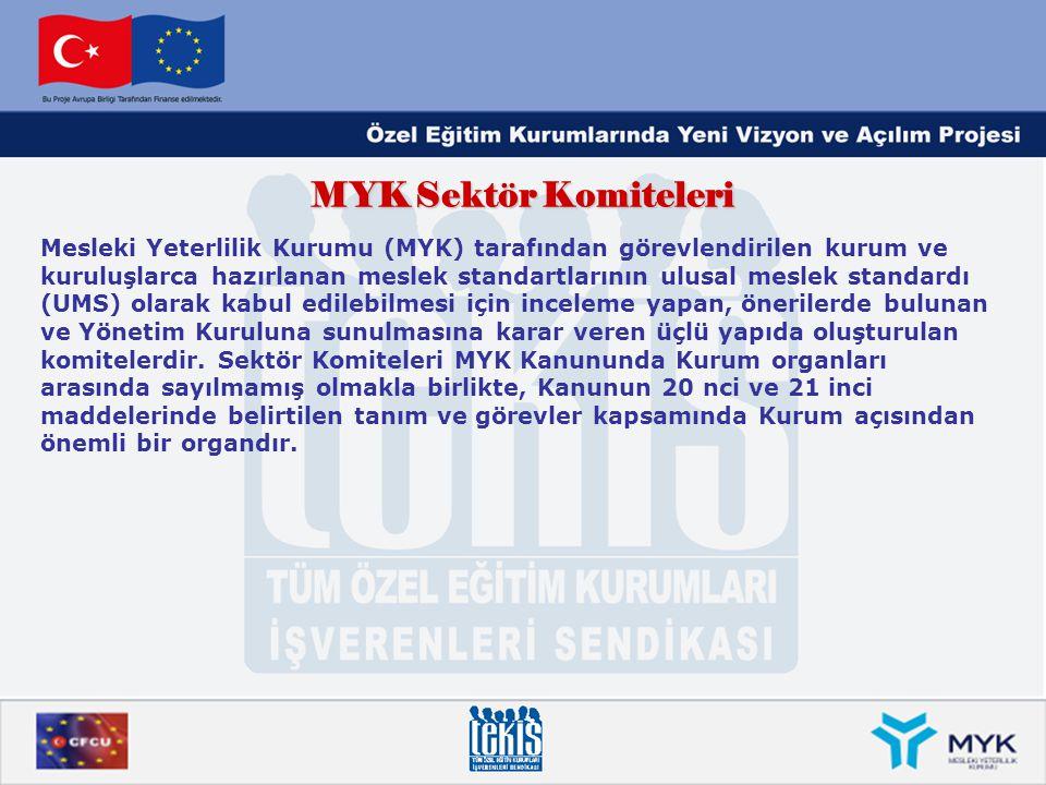 MYK Sektör Komiteleri Mesleki Yeterlilik Kurumu (MYK) tarafından görevlendirilen kurum ve kuruluşlarca hazırlanan meslek standartlarının ulusal meslek