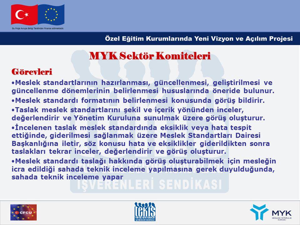 MYK Sektör Komiteleri Görevleri •Meslek standartlarının hazırlanması, güncellenmesi, geliştirilmesi ve güncellenme dönemlerinin belirlenmesi hususları