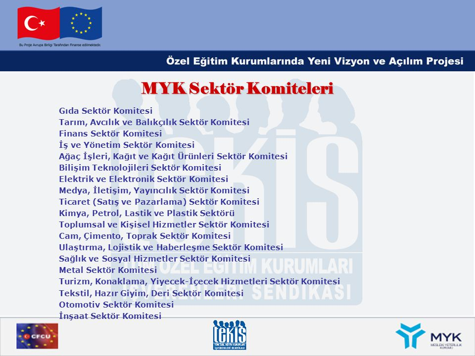 MYK Sektör Komiteleri Gıda Sektör Komitesi Tarım, Avcılık ve Balıkçılık Sektör Komitesi Finans Sektör Komitesi İş ve Yönetim Sektör Komitesi Ağaç İşle