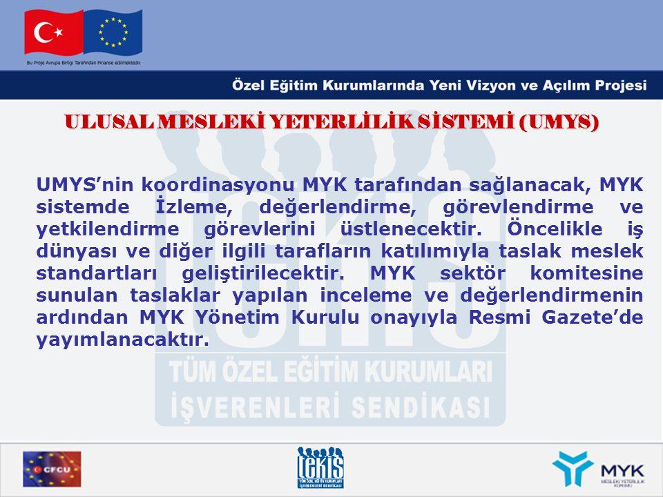 ULUSAL MESLEKİ YETERLİLİK SİSTEMİ (UMYS) UMYS'nin koordinasyonu MYK tarafından sağlanacak, MYK sistemde İzleme, değerlendirme, görevlendirme ve yetkil