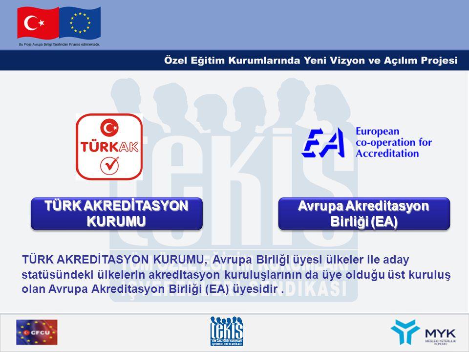 TÜRK AKREDİTASYON KURUMU Avrupa Akreditasyon Birliği (EA) TÜRK AKREDİTASYON KURUMU, Avrupa Birliği üyesi ülkeler ile aday statüsündeki ülkelerin akred