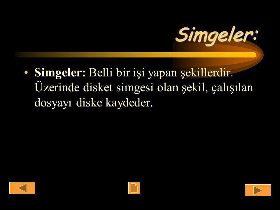Simgeler: •Simgeler: Belli bir işi yapan şekillerdir.