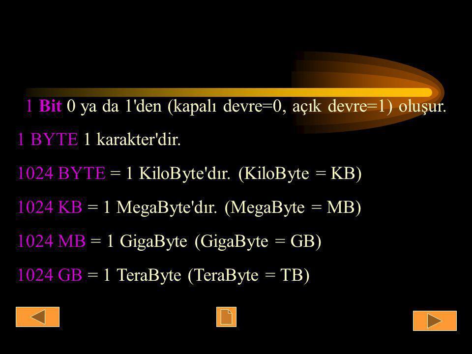 1 Bit 0 ya da 1 den (kapalı devre=0, açık devre=1) oluşur.