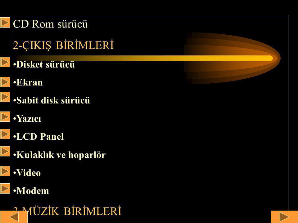 CD Rom sürücü 2-ÇIKIŞ BİRİMLERİ •Disket sürücü •Ekran •Sabit disk sürücü •Yazıcı •LCD Panel •Kulaklık ve hoparlör •Video •Modem 3-MÜZİK BİRİMLERİ