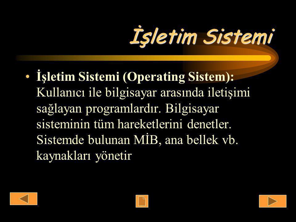 İşletim Sistemi •İşletim Sistemi (Operating Sistem): Kullanıcı ile bilgisayar arasında iletişimi sağlayan programlardır.