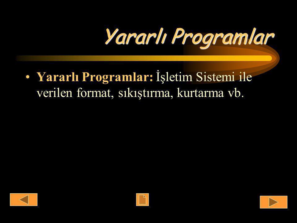 Yararlı Programlar •Yararlı Programlar: İşletim Sistemi ile verilen format, sıkıştırma, kurtarma vb.
