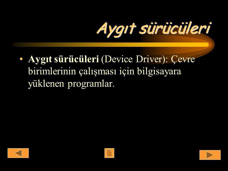 Aygıt sürücüleri •Aygıt sürücüleri (Device Driver): Çevre birimlerinin çalışması için bilgisayara yüklenen programlar.