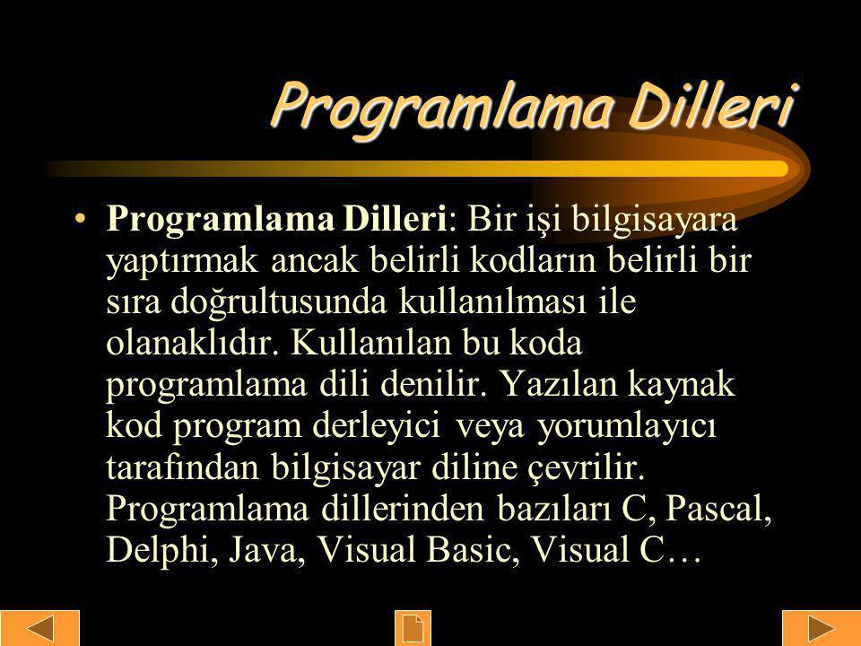 Programlama Dilleri •Programlama Dilleri: Bir işi bilgisayara yaptırmak ancak belirli kodların belirli bir sıra doğrultusunda kullanılması ile olanaklıdır.