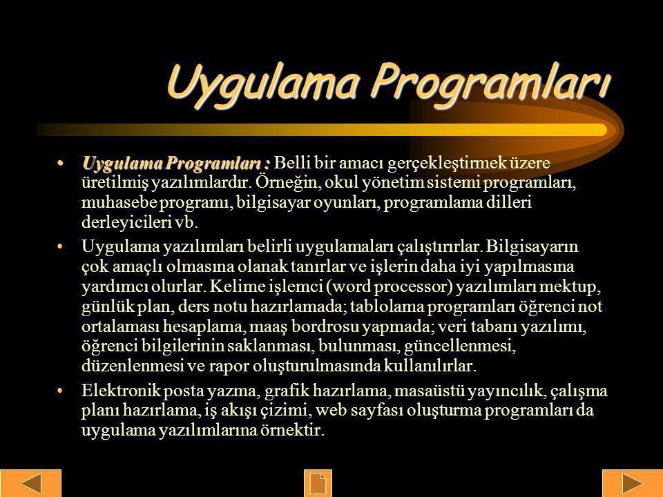 Uygulama Programları •Uygulama Programları : •Uygulama Programları : Belli bir amacı gerçekleştirmek üzere üretilmiş yazılımlardır.