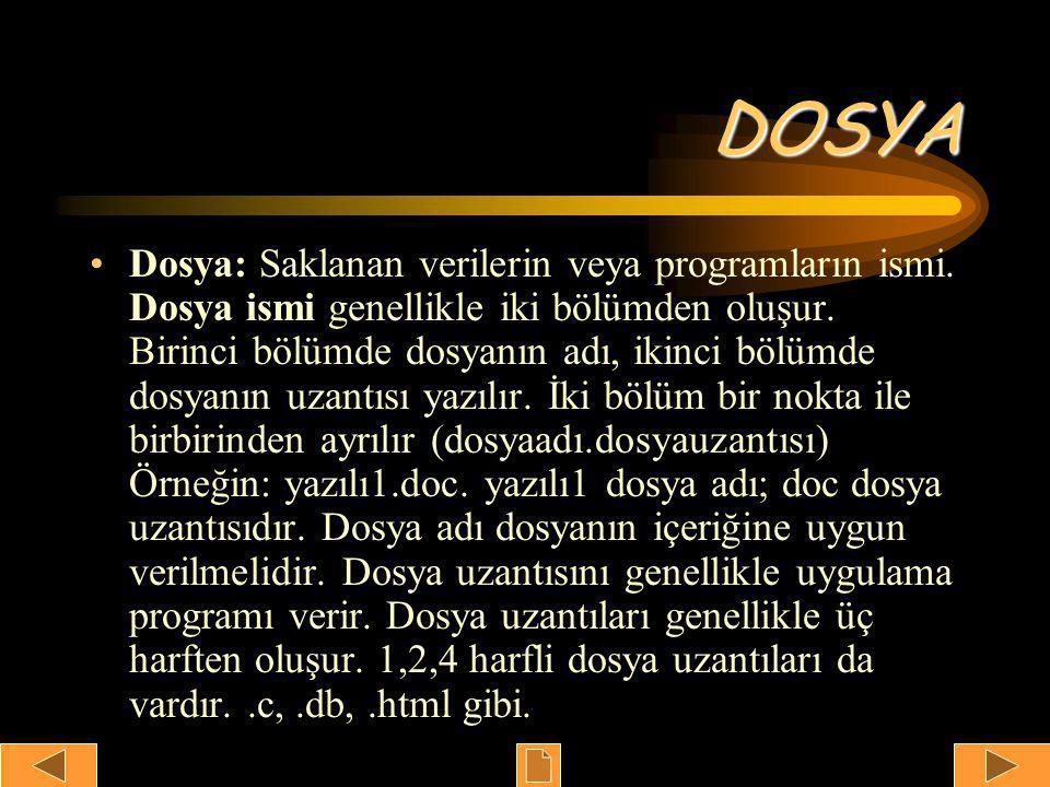 DOSYA •Dosya: Saklanan verilerin veya programların ismi.