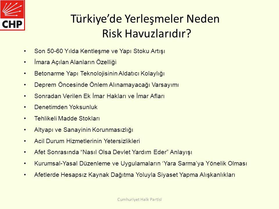 Türkiye'de Yerleşmeler Neden Risk Havuzlarıdır.