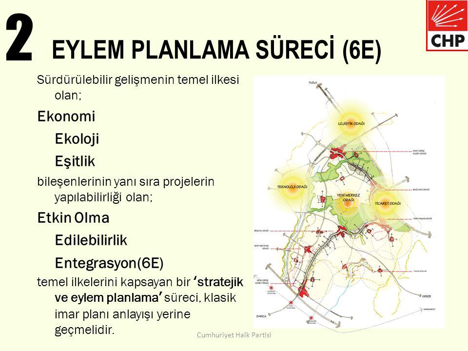 2 EYLEM PLANLAMA SÜRECİ (6E) Sürdürülebilir gelişmenin temel ilkesi olan; Ekonomi Ekoloji Eşitlik bileşenlerinin yanı sıra projelerin yapılabilirliği olan; Etkin Olma Edilebilirlik Entegrasyon(6E) temel ilkelerini kapsayan bir 'stratejik ve eylem planlama' süreci, klasik imar planı anlayışı yerine geçmelidir.