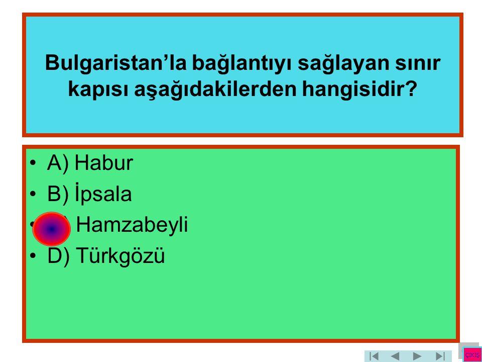 Bulgaristan'la bağlantıyı sağlayan sınır kapısı aşağıdakilerden hangisidir? •A) Habur •B) İpsala •C) Hamzabeyli •D) Türkgözü ÇIKIŞ