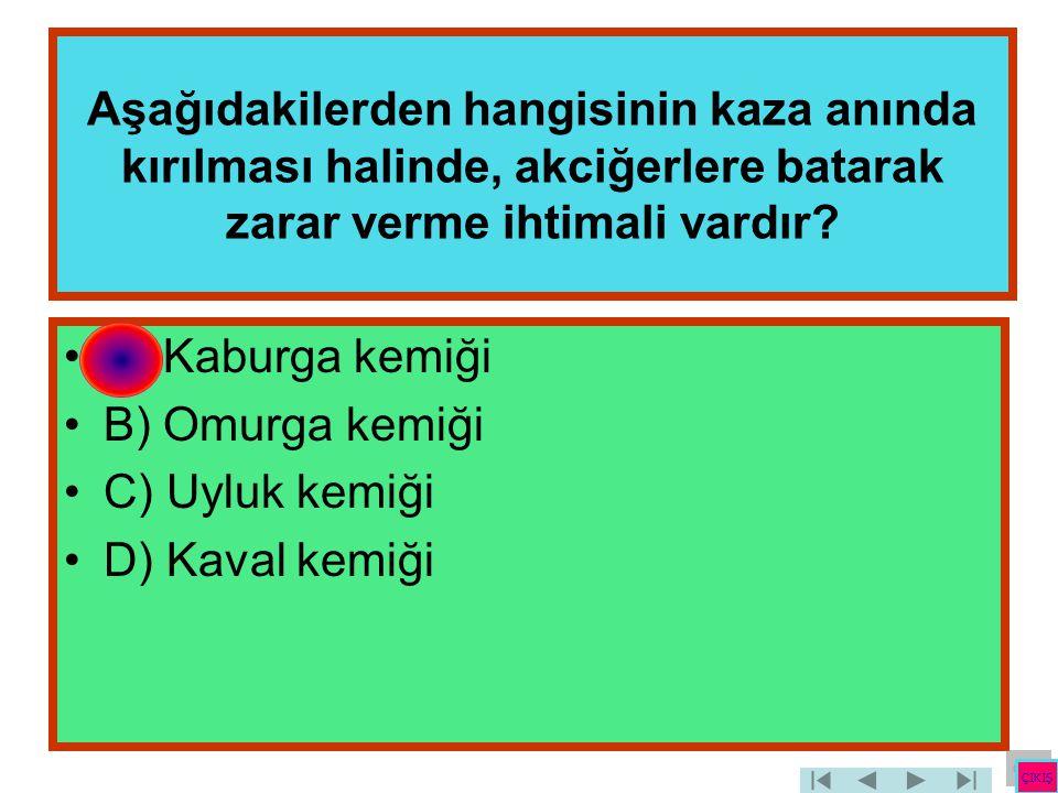 Aşağıdakilerden hangisinin kaza anında kırılması halinde, akciğerlere batarak zarar verme ihtimali vardır? •A) Kaburga kemiği •B) Omurga kemiği •C) Uy