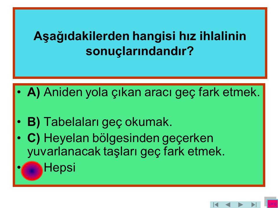Aşağıdakilerden hangisi hız ihlalinin sonuçlarındandır? •A) Aniden yola çıkan aracı geç fark etmek. •B) Tabelaları geç okumak. •C) Heyelan bölgesinden