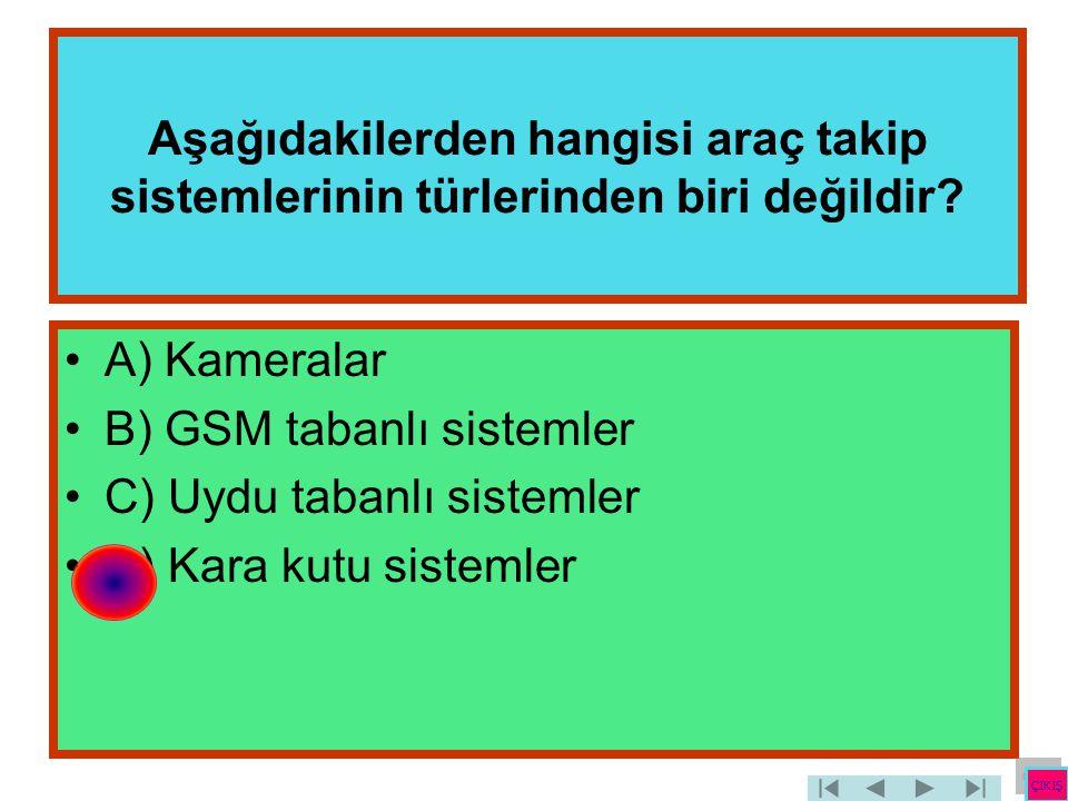 Aşağıdakilerden hangisi araç takip sistemlerinin türlerinden biri değildir? •A) Kameralar •B) GSM tabanlı sistemler •C) Uydu tabanlı sistemler •D) Kar