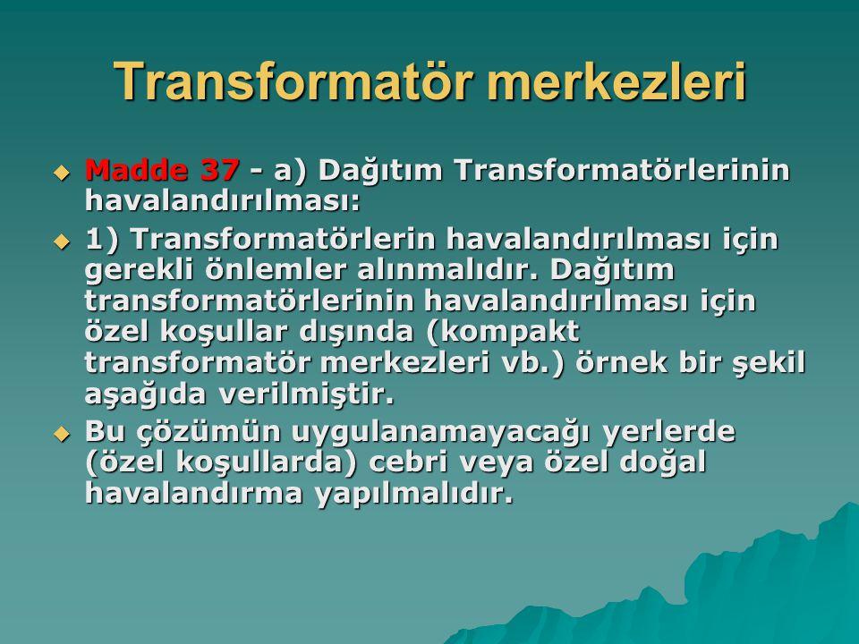 Transformatör merkezleri  Madde 37 - a) Dağıtım Transformatörlerinin havalandırılması:  1) Transformatörlerin havalandırılması için gerekli önlemler