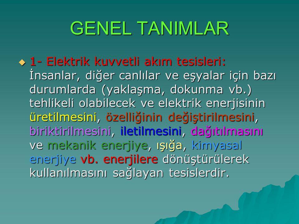 GENEL TANIMLAR  1- Elektrik kuvvetli akım tesisleri: İnsanlar, diğer canlılar ve eşyalar için bazı durumlarda (yaklaşma, dokunma vb.) tehlikeli olabi