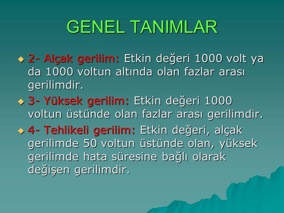 GENEL TANIMLAR  2- Alçak gerilim: Etkin değeri 1000 volt ya da 1000 voltun altında olan fazlar arası gerilimdir.  3- Yüksek gerilim: Etkin değeri 10