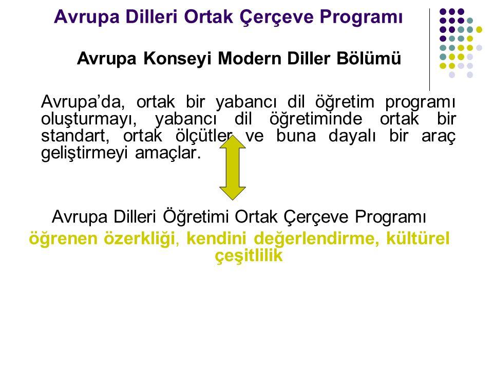Avrupa Dilleri Ortak Çerçeve Programı Avrupa Konseyi Modern Diller Bölümü Avrupa'da, ortak bir yabancı dil öğretim programı oluşturmayı, yabancı dil ö