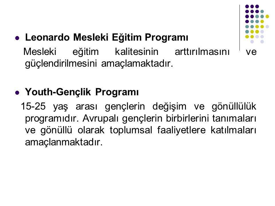 Leonardo Mesleki Eğitim Programı Mesleki eğitim kalitesinin arttırılmasını ve güçlendirilmesini amaçlamaktadır.  Youth-Gençlik Programı 15-25 yaş a