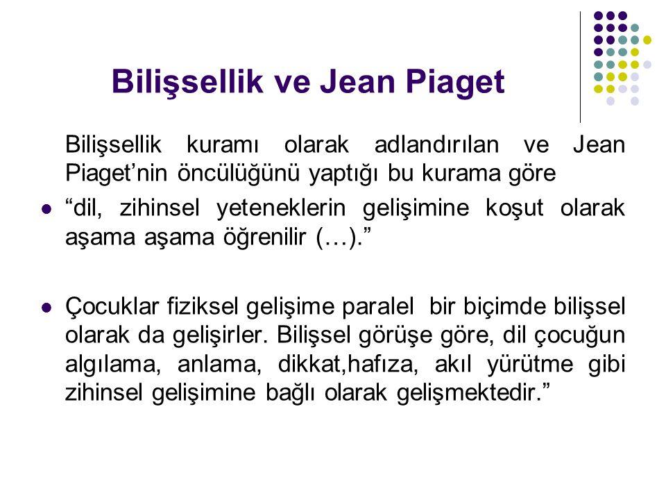 """Bilişsellik ve Jean Piaget Bilişsellik kuramı olarak adlandırılan ve Jean Piaget'nin öncülüğünü yaptığı bu kurama göre  """"dil, zihinsel yeteneklerin g"""