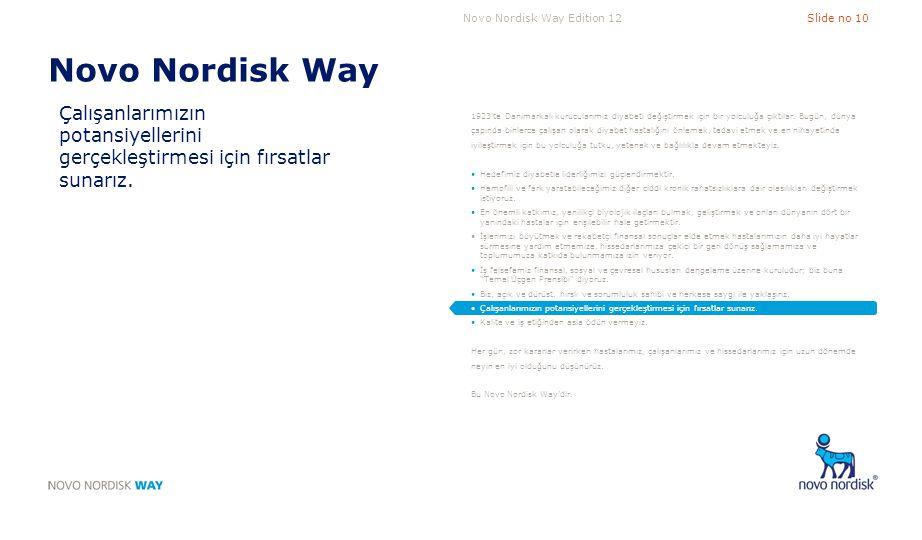 Novo Nordisk Way Edition 12Slide no 10 Novo Nordisk Way Çalışanlarımızın potansiyellerini gerçekleştirmesi için fırsatlar sunarız. 1923'te Danimarkalı