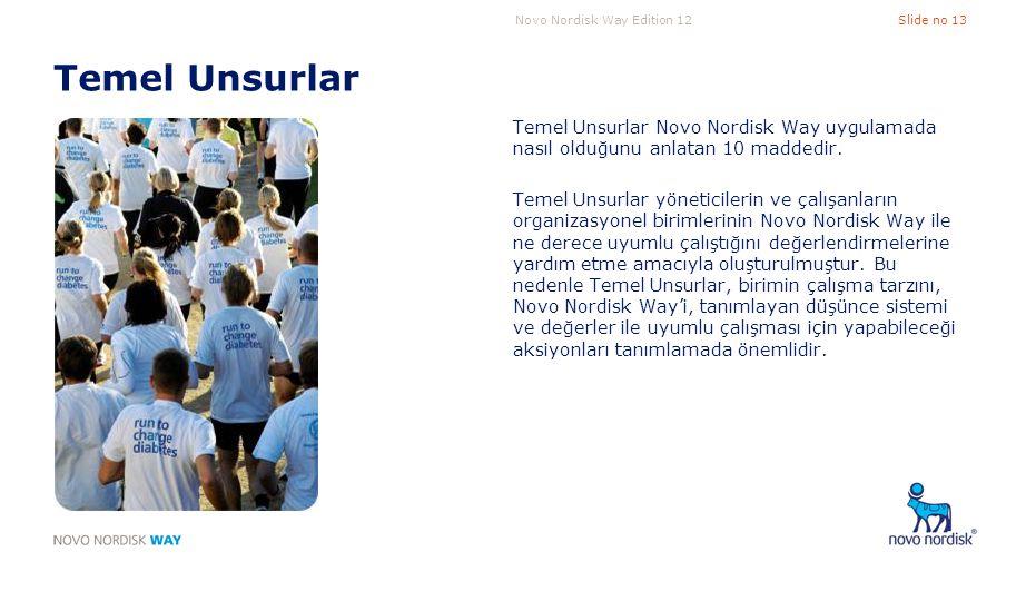 Novo Nordisk Way Edition 12Slide no 13 Temel Unsurlar Temel Unsurlar Novo Nordisk Way uygulamada nasıl olduğunu anlatan 10 maddedir. Temel Unsurlar yö