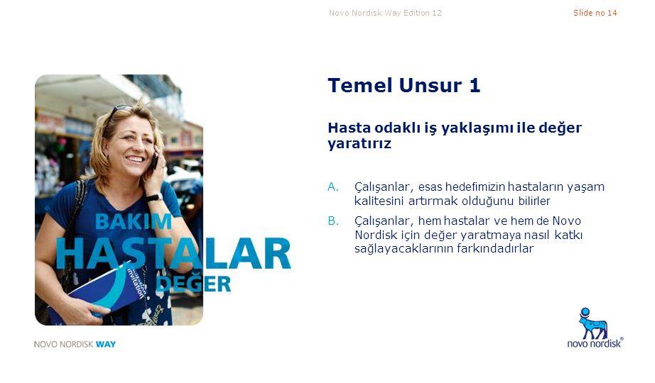 Novo Nordisk Way Edition 12Slide no 14 Temel Unsur 1 Hasta odaklı iş yaklaşımı ile değer yaratırız A.Çalışanlar, esas hedefimizin hastaların yaşam kal