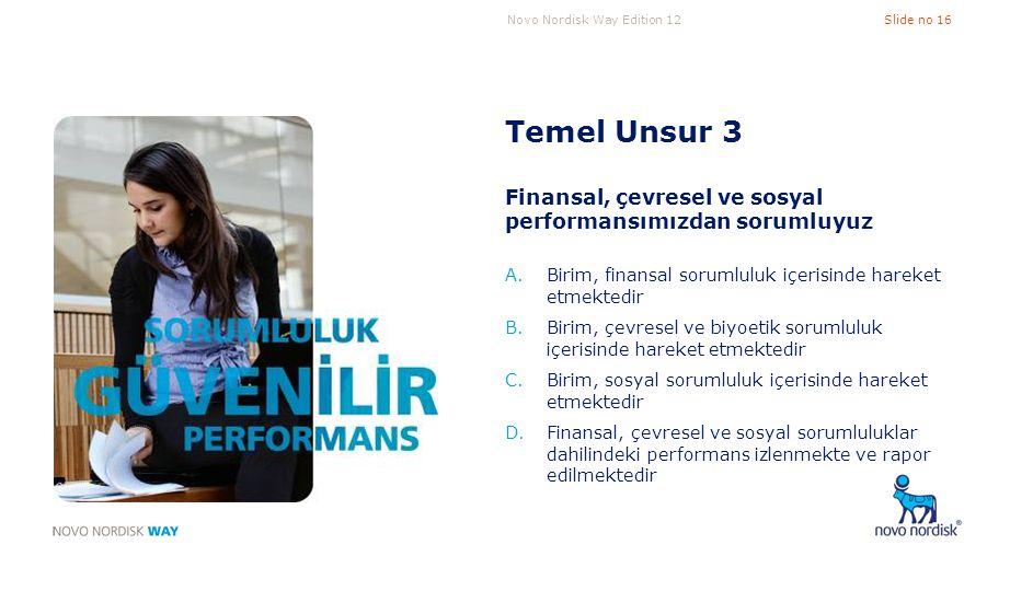 Novo Nordisk Way Edition 12Slide no 16 Temel Unsur 3 Finansal, çevresel ve sosyal performansımızdan sorumluyuz A.Birim, finansal sorumluluk içerisinde