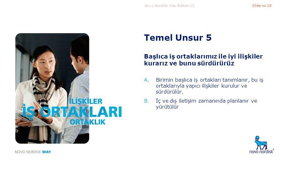 Novo Nordisk Way Edition 12Slide no 18 Temel Unsur 5 Başlıca iş ortaklarımız ile iyi ilişkiler kurarız ve bunu sürdürürüz A.Birimin başlıca iş ortakla