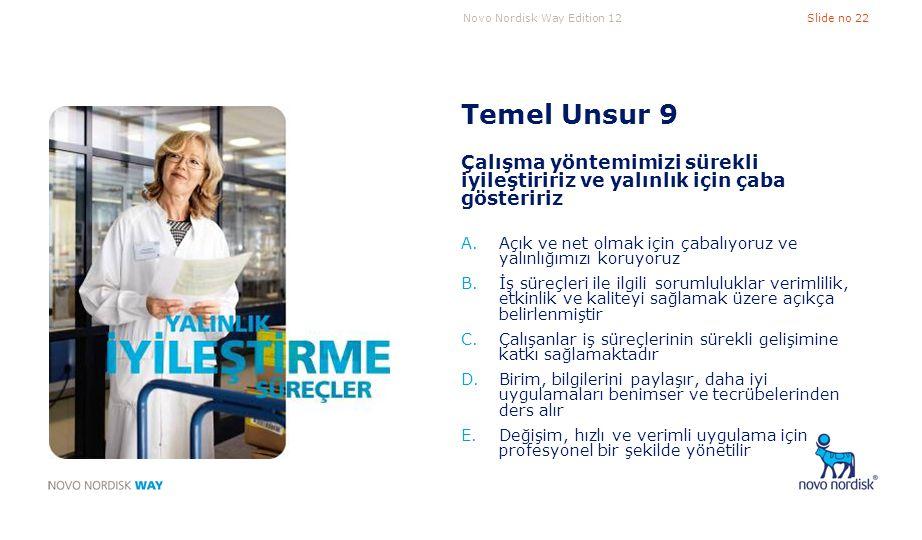 Novo Nordisk Way Edition 12Slide no 22 Temel Unsur 9 Çalışma yöntemimizi sürekli iyileştiririz ve yalınlık için çaba gösteririz A.Açık ve net olmak iç