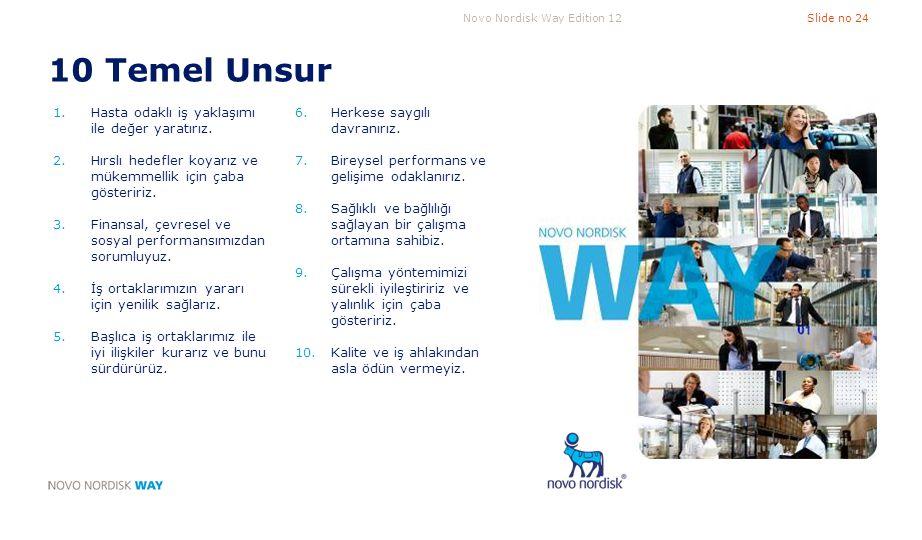 Novo Nordisk Way Edition 12Slide no 24 10 Temel Unsur 1.Hasta odaklı iş yaklaşımı ile değer yaratırız. 2.Hırslı hedefler koyarız ve mükemmellik için ç