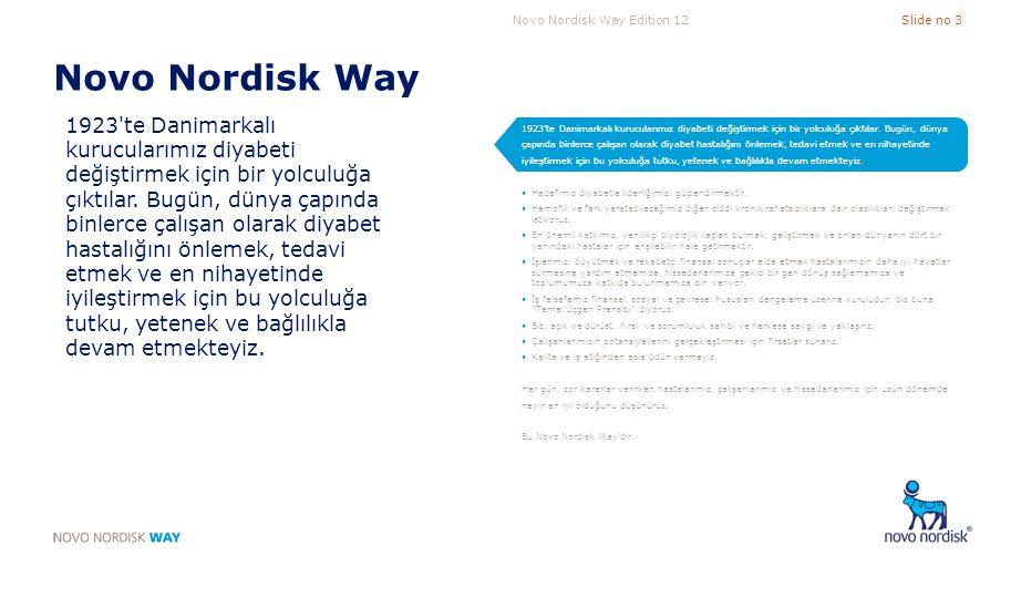 Novo Nordisk Way Edition 12Slide no 3 Novo Nordisk Way 1923'te Danimarkalı kurucularımız diyabeti değiştirmek için bir yolculuğa çıktılar. Bugün, düny