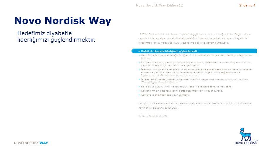 Novo Nordisk Way Edition 12Slide no 15 Temel Unsur 2 Hırslı hedefler koyarız ve mükemmellik için çaba gösteririz A.Birim in hedefleri ve bireysel hedefler hırslıdır; bu hedefler nettir, tam olarak anlaşılmıştır ve Novo Nordisk in genel hedefleri ile bağlantılıdır B.Zorluklar, açıkça tanımlanan ve izlenen kısa ve uzun dönemli performans göstergeleri ile tanımlanır ve takip edilir C.Sürdürülebilir iş başarısını sağlamak üzere, hedeflere, rekabet halindeki talepler dengelenerek ulaşılır D.Birim, belirlenmiş kriterler ve diğer ilgili ölçütler ışığında mükemmellik için çaba gösterir.