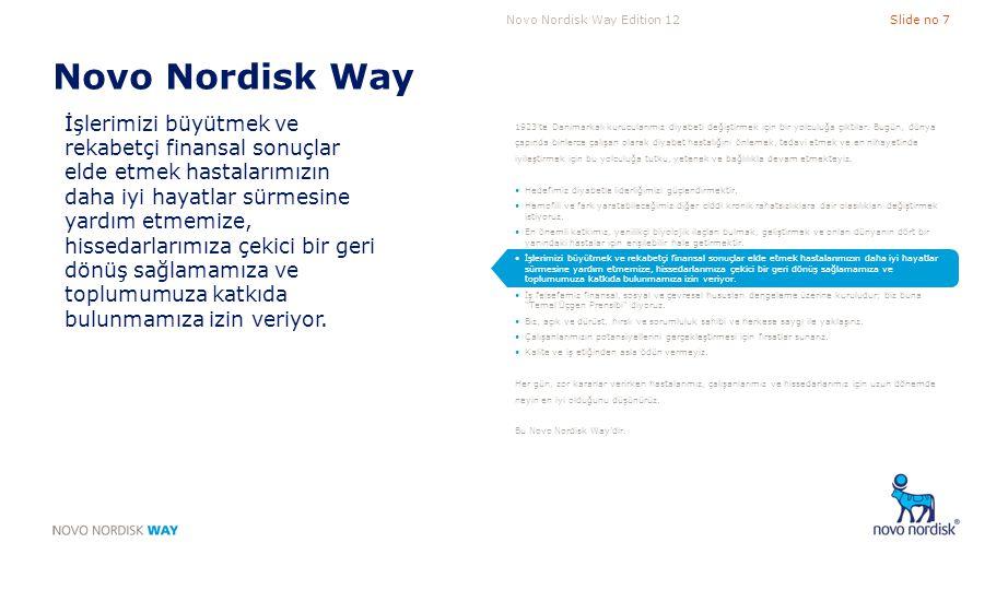 Novo Nordisk Way Edition 12Slide no 8 Novo Nordisk Way İş felsefemiz finansal, sosyal ve çevresel hususları dengeleme üzerine kuruludur; biz buna Temel Üçgen Prensibi diyoruz.