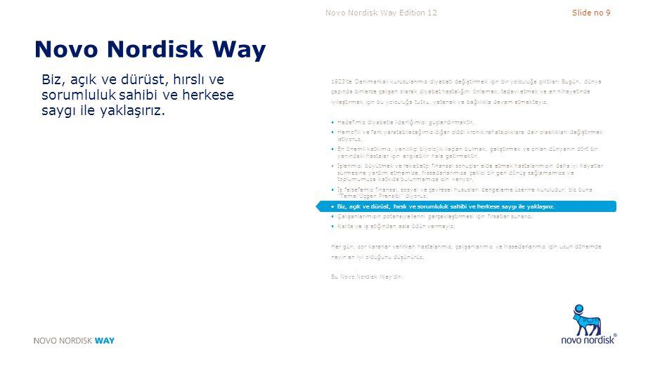 Novo Nordisk Way Edition 12Slide no 9 Novo Nordisk Way Biz, açık ve dürüst, hırslı ve sorumluluk sahibi ve herkese saygı ile yaklaşırız. 1923'te Danim