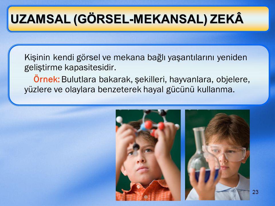 23 UZAMSAL (GÖRSEL-MEKANSAL) ZEKÂ Kişinin kendi görsel ve mekana bağlı yaşantılarını yeniden geliştirme kapasitesidir. Örnek: Bulutlara bakarak, şekil