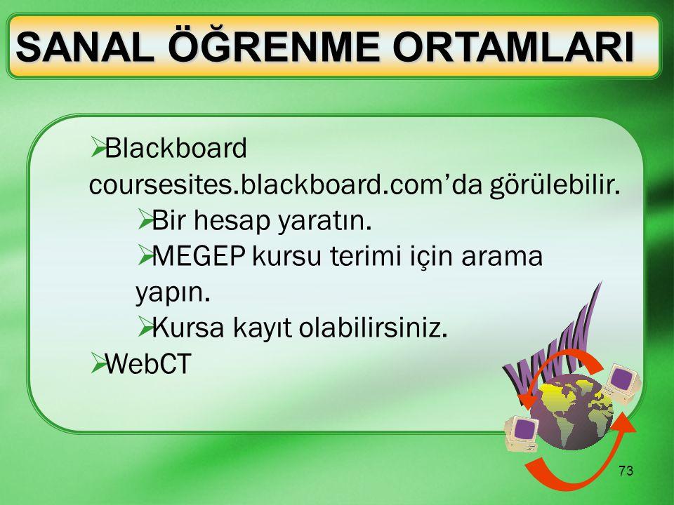 73 SANAL ÖĞRENME ORTAMLARI  Blackboard coursesites.blackboard.com'da görülebilir.  Bir hesap yaratın.  MEGEP kursu terimi için arama yapın.  Kursa