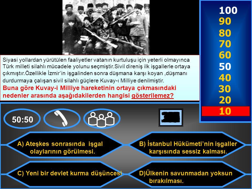 A) Düzenli orduyu kurması C) Saltanatı kaldırması B) Mudanya Ateşkes Antlaşması'nı imzalaması.