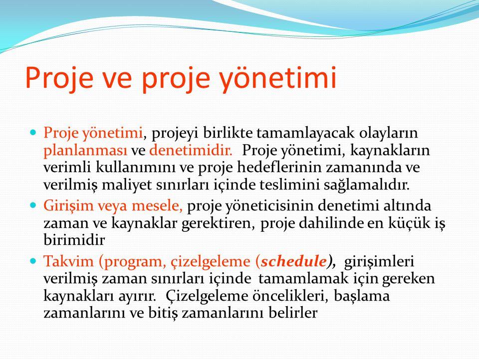 Proje ve proje yönetimi  Proje yönetimi, projeyi birlikte tamamlayacak olayların planlanması ve denetimidir.
