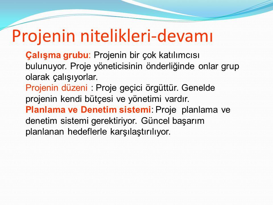 Projenin nitelikleri-devamı Çalışma grubu: Projenin bir çok katılımcısı bulunuyor.
